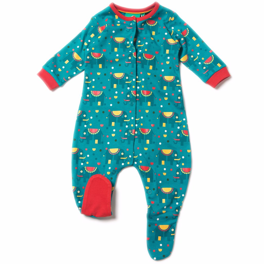 Organic Fairtrade Cotton - Jungle Elephant Babygrow